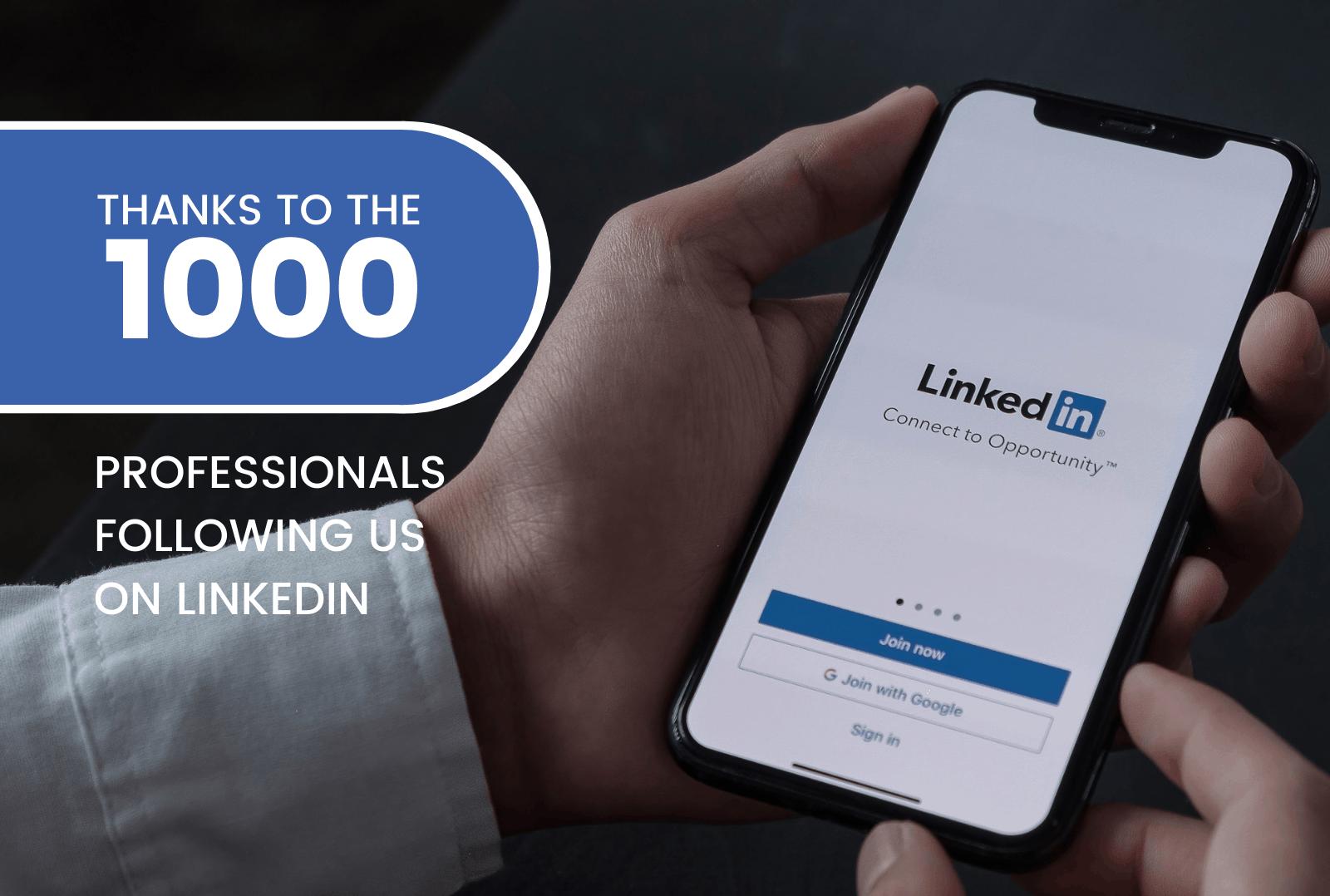 grazie ai 1000 professionisti che ci seguono su Linkedin