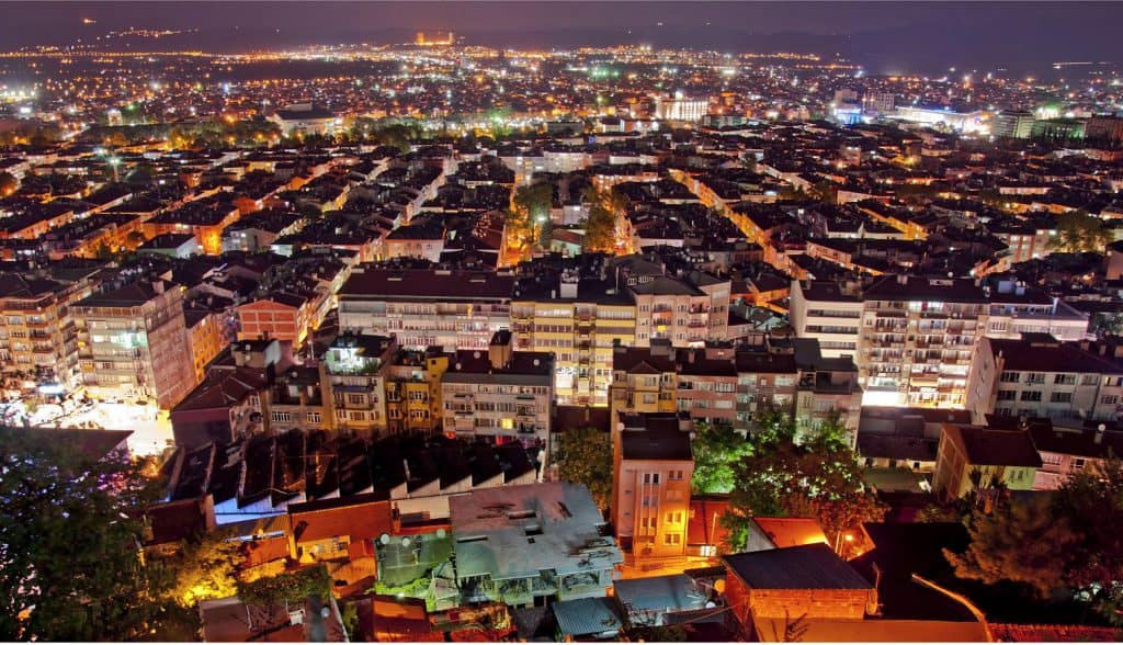 vista notturna Bursa Turchia